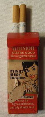 "One of the 1950s Winston ""G.I. Packs"" of 4 cigarettes made to be strapped inside the bands of soldiers' helmets. If the war didn't kill them, these cigarettes did!"