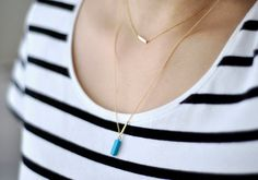 Ultramarine turquoise bar pendant necklace on gold fill by edor