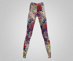 Psychedelic print leggings/yoga pants by AsianCraftShop on Etsy