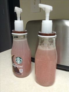 Starbucks bottle soap dispenser. Find a pump, stab a hole through the lid big enough for the pump to fit and use e6000 or a good glue on the inside of the lid to help secure it and to try to prevent rusting from moisture.