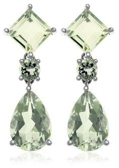 68aa22488ce Gold Semi-Precious Pear and Square Shaped Dangle Earrings