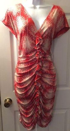 NWT $275 CYNTHIA STEFFE Red White Flame Silk Print Dress Ruffle Trim Ruched Sz M