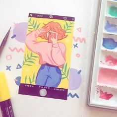 a quick painting! im working on a big painting rn and so im rlly excited to share it with yall Pretty Art, Cute Art, Minimalist Bullet Journal, Posca Art, Arte Sketchbook, Aesthetic Painting, Pen Art, Small Paintings, Kawaii Art