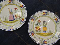 Quimper French plates. Pair. Lovely wall decor.