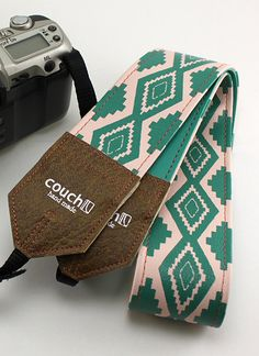 Southwestern Pink and Turquoise Camera Strap by couchguitarstraps