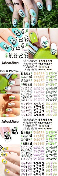 [Visit to Buy] AriesLibra Cute Panda Bear and Cat Series Nail Art Water Tranfer Sticker for Beauty Manicure Decor Tool Nail Decoration #Advertisement