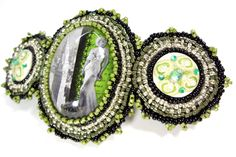 Glamorous Green Evening Barrette, beautiful hair accessory to complete a gorgeous evening updo - hand beaded and only $49