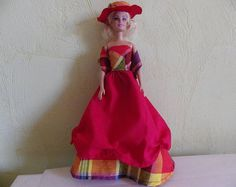 Madras and red for doll dress