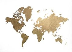 Large Gold Foil World Map - Metallic Foil by Jennifer Goldberger