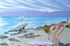 Bagnante sulla spiaggia di Lazzaro