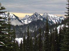 A beautiful winter scene of Mount Rainier National Park in Washington. Photo of the Tatoosh Range by National Park Service.