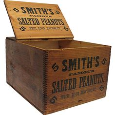 Smiths Peanuts Wood advertising box, box is 15 by 12 9 tall, originally would have been used for retailing and shipping peanuts. Small Wooden Crates, Vintage Wood Crates, Wooden Crate Boxes, Antique Wooden Boxes, Old Crates, Vintage Tins, How To Antique Wood, Wooden Diy, Box Joints