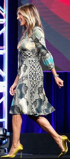 Sarah Jessica Parker: Dress – Etro Shoes – Sarah Jessica Parker Collection