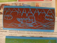 Styropordruck-Postkartenkunst aus dem Krokoseum