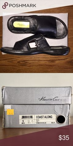 Kenneth Cole New York Coast Along Sandal- Men's 9 Kenneth Cole New York Men's Coast Along Sandal, Size 9 Med (US).  I think I wore these two or three times.  Super comfortable, but they were a little conservative for me.  The box is a little beaten up. Kenneth Cole Shoes Sandals & Flip-Flops