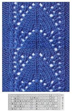 Lace knitting Lace Knitting Patterns, Knitting Stiches, Knitting Charts, Stitch Patterns, Knitting Help, Baby Knitting, Tatting, Free Pattern, Knit Crochet