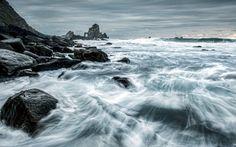 камни, море, ночь, пейзаж