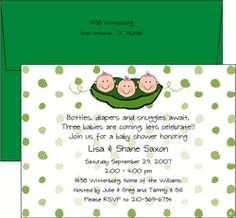 Triplet Baby Shower Invitation - just for the wording about triplets... not the design