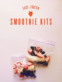 "too easy. freeze produce in individual sandwich bags for ""smoothie kits."" add milk/yogurt, blend  enjoy."