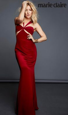 Kate Hudson wears sexy red gown with cutouts for Marie Claire Magazine October 2016 issue