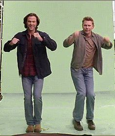 Jared & Mark ~ are they dancing? Are they skiing? Does it matter? :p #Supernatural #dorks