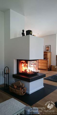 Panoramic fireplace designed as a room divider .- Panoramakamin als Raumteiler konzipiert He… Panorama fireplace designed as a room divider fireplace oven - Fireplace Decor, Interior Design, Fireplace Design, Living Room Accents, Diy Fireplace, Home, Warm Home Decor, Diy Room Divider, Room