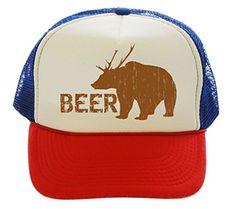 Beer Bear Deer Hunting Funny Trucker Hat Cap