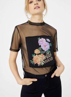 Black Mesh Longline T-Shirt - Clothing - New In - Miss Selfridge