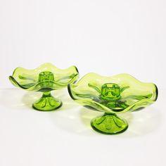 Vintage #Viking #Glass Candle Holders Candle Sticks Green Transparent Retro Midcentury