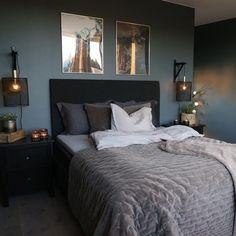 Home Room Design, Master Bedroom Design, Bedroom Inspo, Home Decor Bedroom, Bedroom Inspiration, Dark Gray Bedroom, Dark Bedrooms, Dark Bedroom Walls, Luxurious Bedrooms