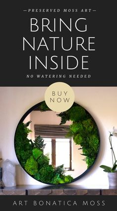 Find stunning moss wall art and moss decor in a wide range of shapes and sizes. Eco friendly, vibrant, lush and texture-rich, every piece is meticulously handcrafted from real preserved moss. Moss Wall Art, Moss Art, Large Wall Art, Framed Wall Art, Lush, Moss Decor, Forever Green, Eco Friendly House, Mirror Art