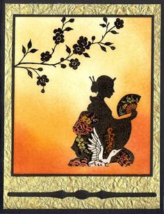 hand crafted card: Silhouette Dream Gardens by Ocicat ,,, silhouette over sponging ... delightful!