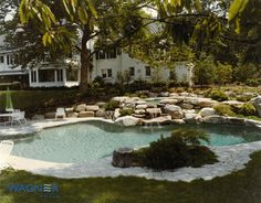Natural Shape Gunite Swimming Pool, Caribbean Blue Pebble Finish, In Floor Cleaning System, Ozone/UV Sanitizing, Boulder WaterFall, Hydrotherapy Spa, Pool Spa Computer Controls, Tower Hill Granite Coping and Decking.  Darien, CT 06820