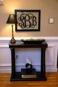 This is one of my favorites!! Get one of our 3 letter monogram wall decals (available in 3 sizes) and place it in a picture frame, or on a mirror!! It is GORGEOUS!! We also offer full name wall decals as well!