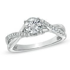 1 CT. T.W. Diamond Twist Shank Engagement Ring in 14K White Gold - Zales