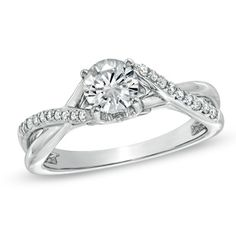 Diamond Twist Shank Engagement Ring