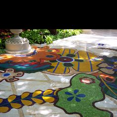 Mosaic floor in Vegas hotel.