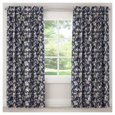 "Blackout Chinois Curtain Panel Navy (Blue) (50""x108"")"
