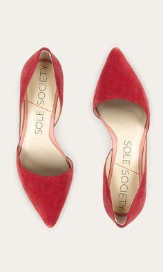 Red suede mid heel d'Orsay pump