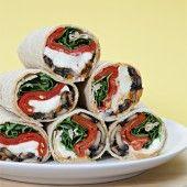 Portobello Mushroom Wraps with Buffalo Mozzarella, Piquillo Peppers and Pimentón Mayonnaise