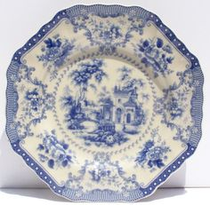 french fine china dinnerware | Blue Octogonal Fine China Salad Plate Antique French Toile Design