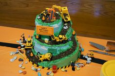 """Gluten free cake and gluten free cookie crumb dirt. Ramps built of rice krispy treats. Chocolate """"rocks"""", fondant signs, traffic cones, clouds and trees. 2 Year Old Birthday Cake, Tractor Birthday Cakes, 2nd Birthday, Birthday Ideas, Construction Birthday Parties, Construction Party, Swimming Cupcakes, Excavator Cake, Digger Cake"""