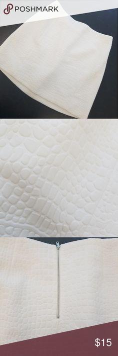 Lareine crocodile texture mini skirt Large EUC (actually never used) Lareine white crocodile texture white ( no stains) lined mini skirt and zips in back.  It is not see-thru. Smoke & Pet free home Lareine Skirts Mini