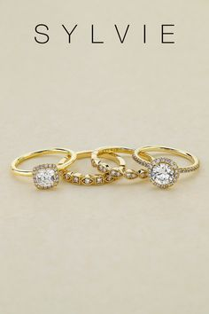 The Warmth and nostalgia of yellow gold offers a timeless and versatile look that can complement any center stone. when set with a round brilliant center, yellow gold engagement rings are exceptionally beautiful. Yellow Gold Wedding Rings and Engagement Rings. Gold Diamond Rings. SYLVIE Collection Double Halo Engagement Ring, Engagement Ring Styles, Designer Engagement Rings, Gold Diamond Rings, Diamond Bands, Diamond Wedding Bands, Gold Wedding Rings, Unique Rings, Fashion Rings
