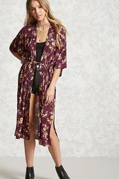 *FOREVER 21 || Longline self-tie floral kimono | Kimono de línea larga con lazo