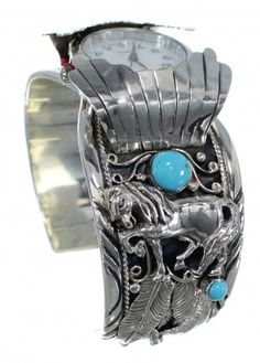 Turquoise Horse Authentic Sterling Silver Southwest Cuff Watch CX48700