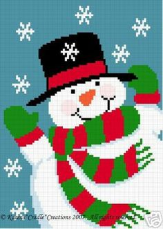 Crochet Patterns - FROSTY SNOWMAN afghan pattern