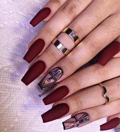Pretty Winter Nails Matte Color For Long Nail Art Designs Cute Acrylic Nails, Acrylic Nail Designs, Matte Nails, Red Nails, Love Nails, Hair And Nails, Nail Art Designs, Nails Design, Gorgeous Nails