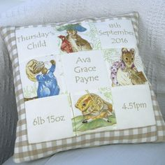 The perfect memory cushion to suit any baby or child. Baby Patchwork Quilt, Baby Girl Quilts, Girls Quilts, Mini Quilts, Cushion Ideas, Baby Quilt Patterns, Machine Embroidery Projects, Handmade Cushions, Weird Shapes