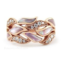 107871 - Kabana Pink Mother Of Pearl and Diamond Ring in Rose Gold. Figures/Symbols: Flower, Leaf, Wave